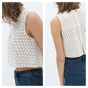 Zara Crop Top Eyelet Crochet Top White